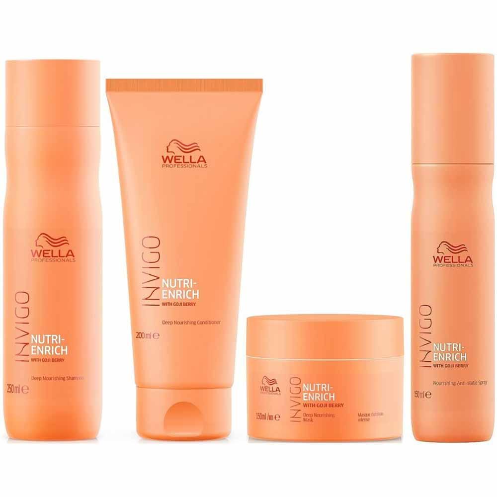 Pack Wella Invigo Nutri Enrich Shampoo 250 ml + Acond. 200 ml + Masc.+ Spray