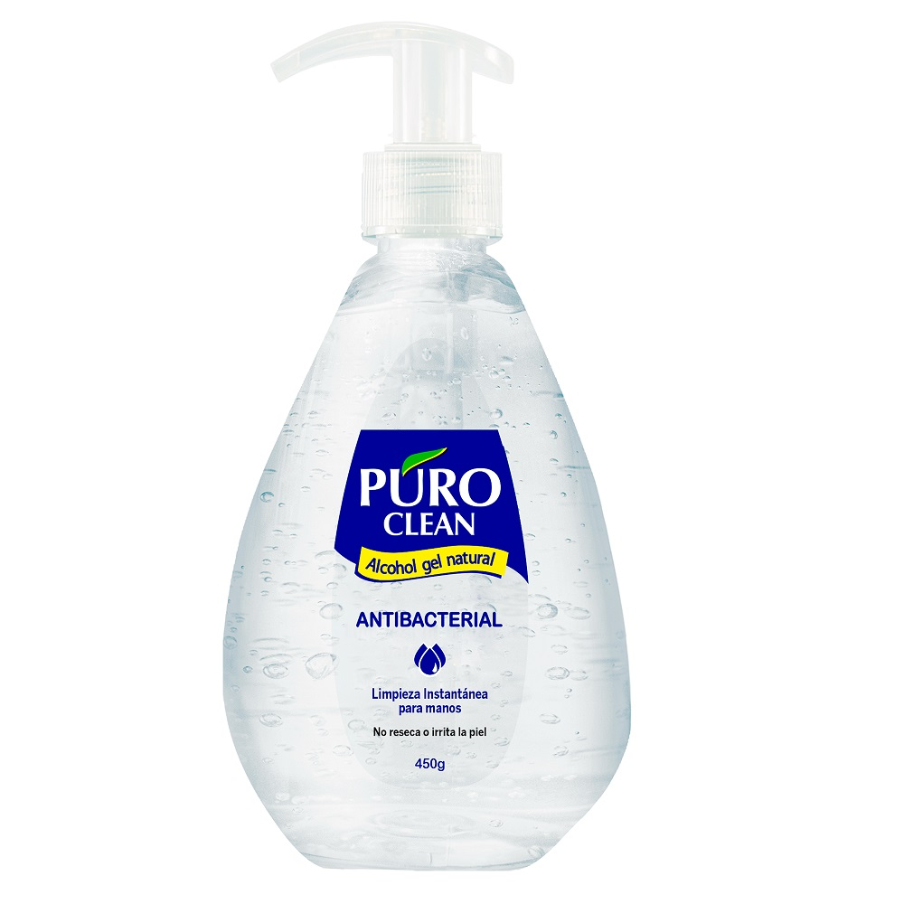 ALCOHOL EN GEL NATURAL PURO CLEAN 450 G C/BOM
