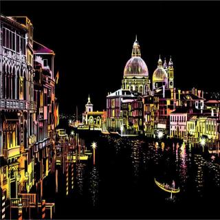 Canales de Agua de Venecia - Scratch art
