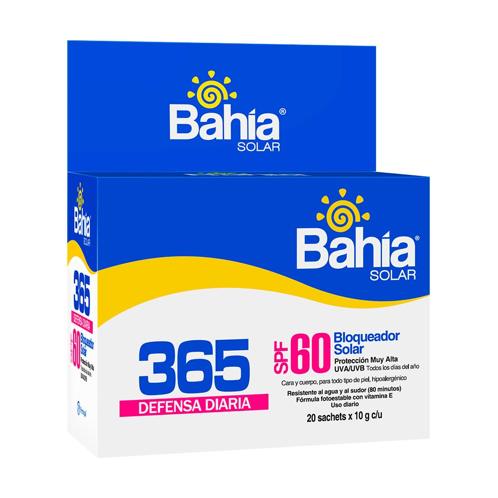 Bloqueador Bahía 365 Defensa Diaria SPF 60 - 20 sachets de 10g