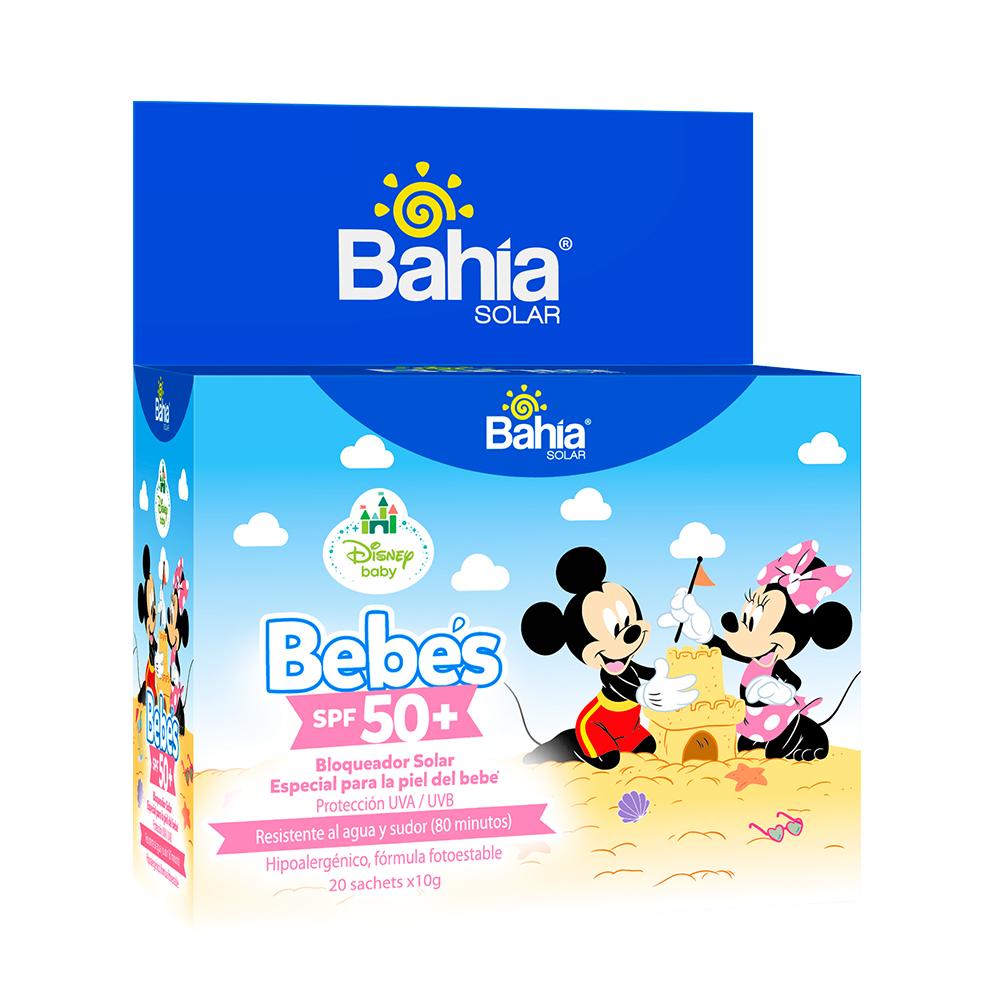 Bloqueador Bahía Bebés SPF 50 + Mickey y Minnie 20 sachets de 10g