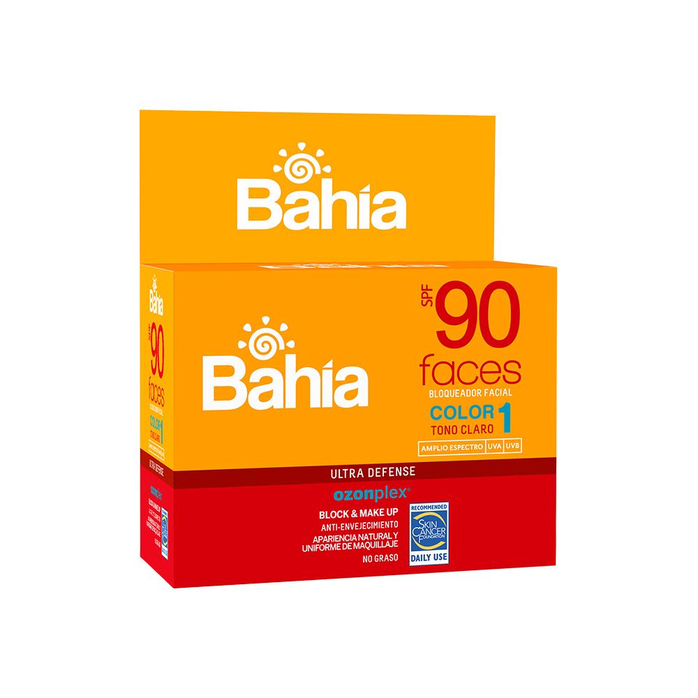 Bloqueador Bahía Faces SPF 90 Color 1 - 20 sachets de 10g