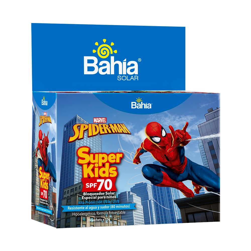 Bloqueador Bahía Super Kids Spiderman SPF 70 - 20 sachets de 10g