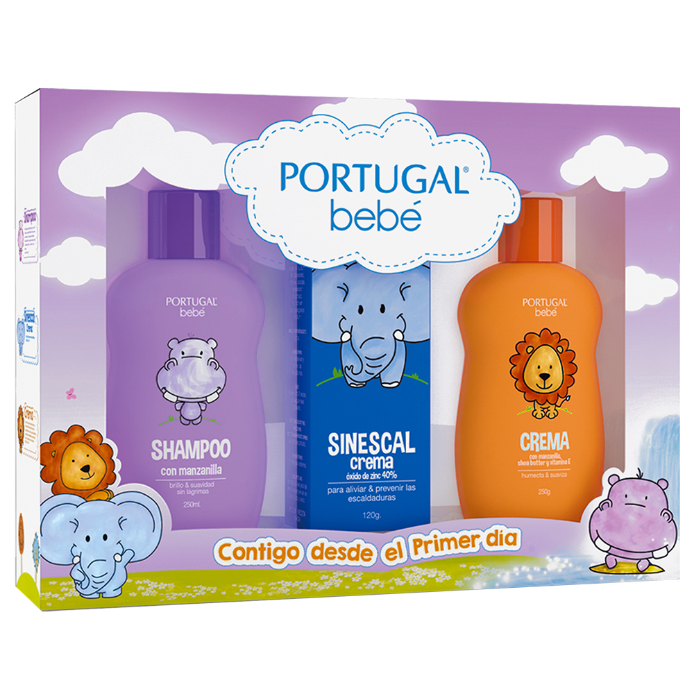 Pack Bebé 3, Shampoo x 250ml, Crema x 250g, Sinescal x 120g Portugal Bebé