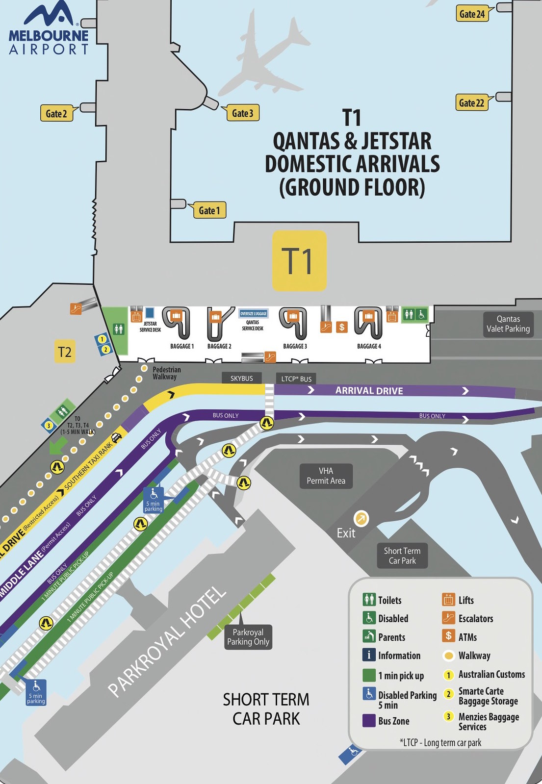 ①T1 QANTAS & JETSTAR DOMESTIC ARRIVALS (GROUND FLOOR)
