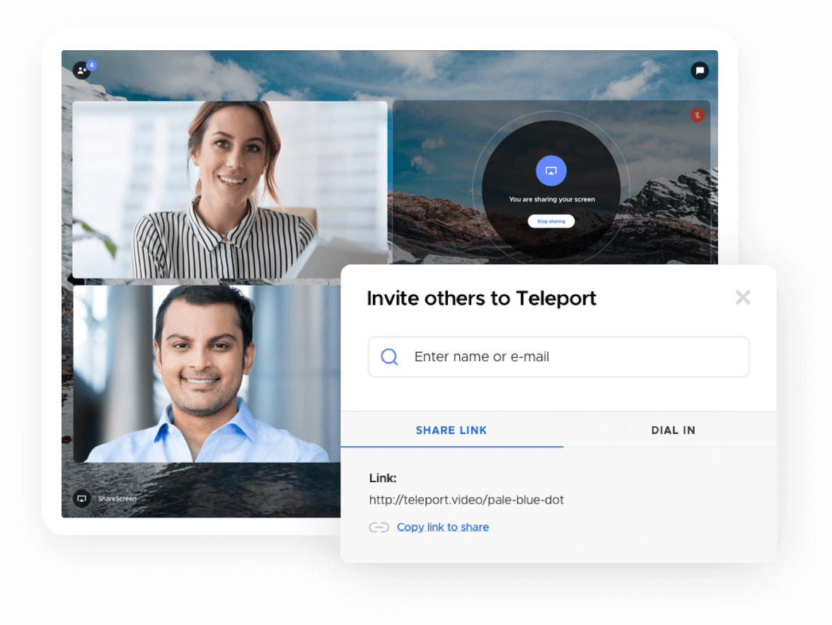 Invite box to share your screen with others using Teleport