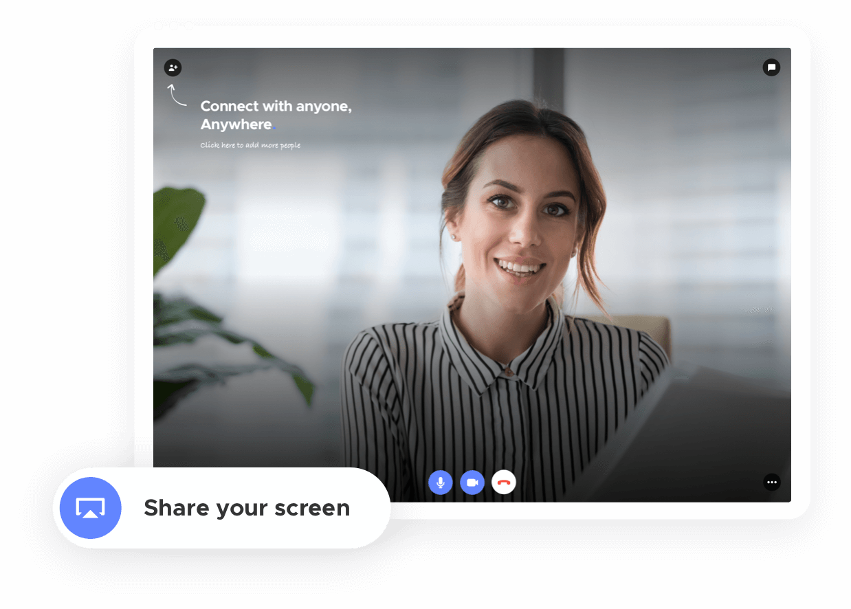 Button to start screen sharing within a Teleport video call