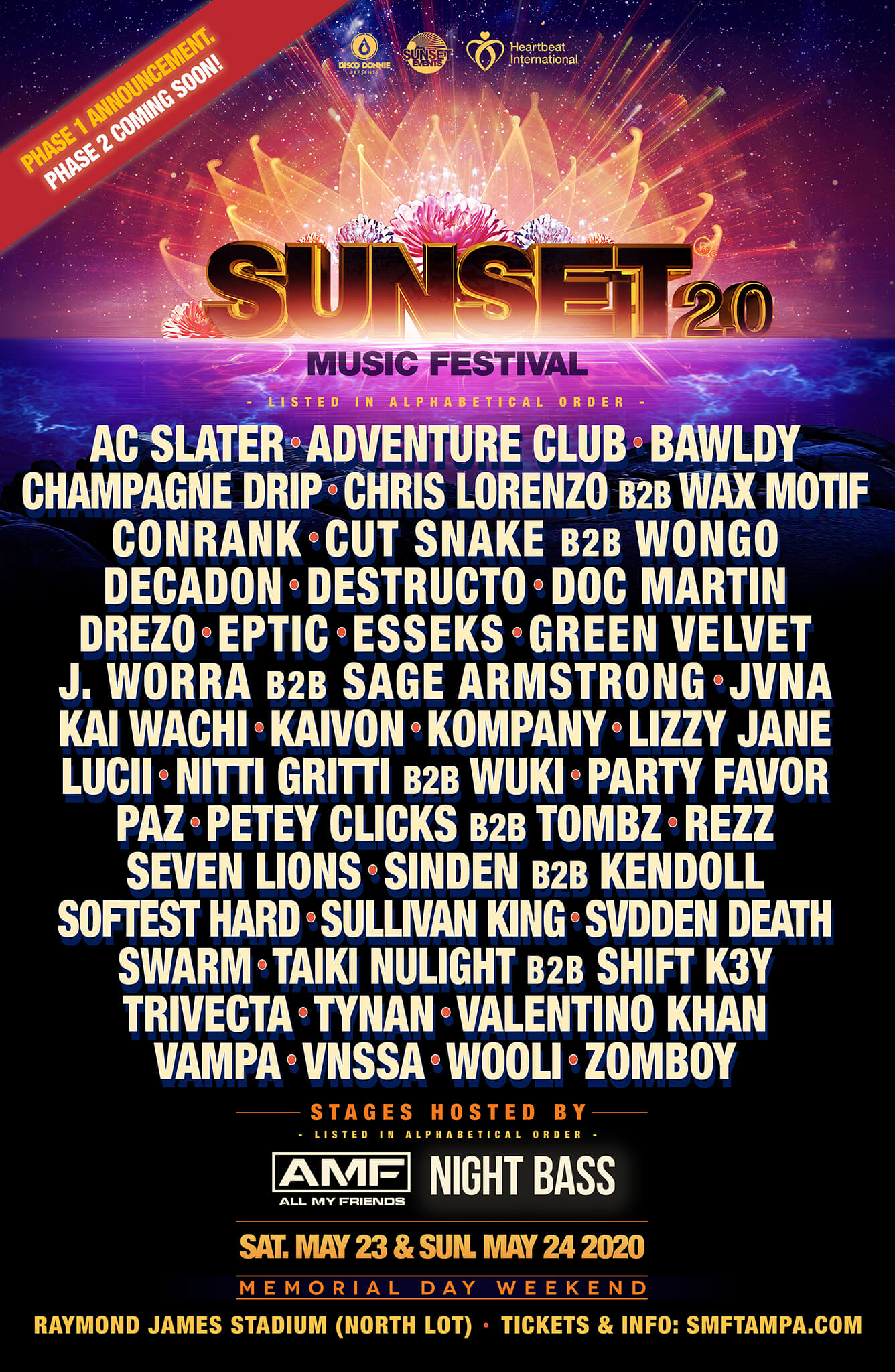 sunset music festival 2020 lineup phase 1