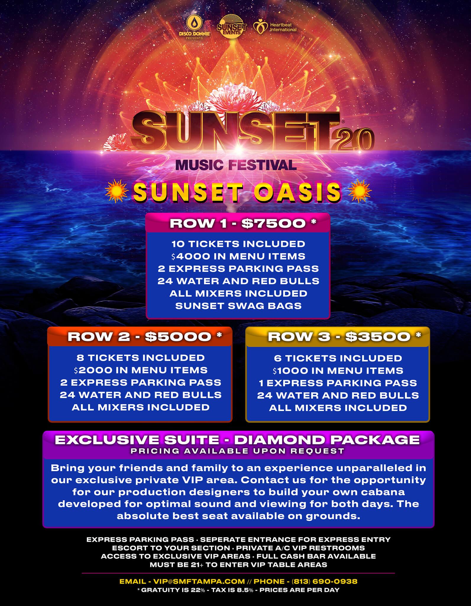sunset music festival 2020 table service