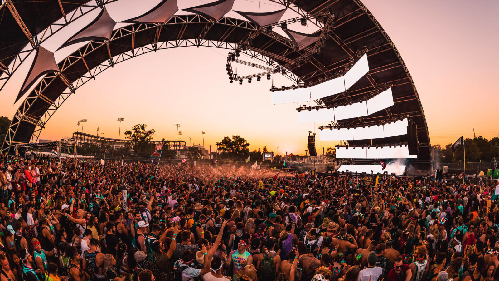 sun sets at the bass stage