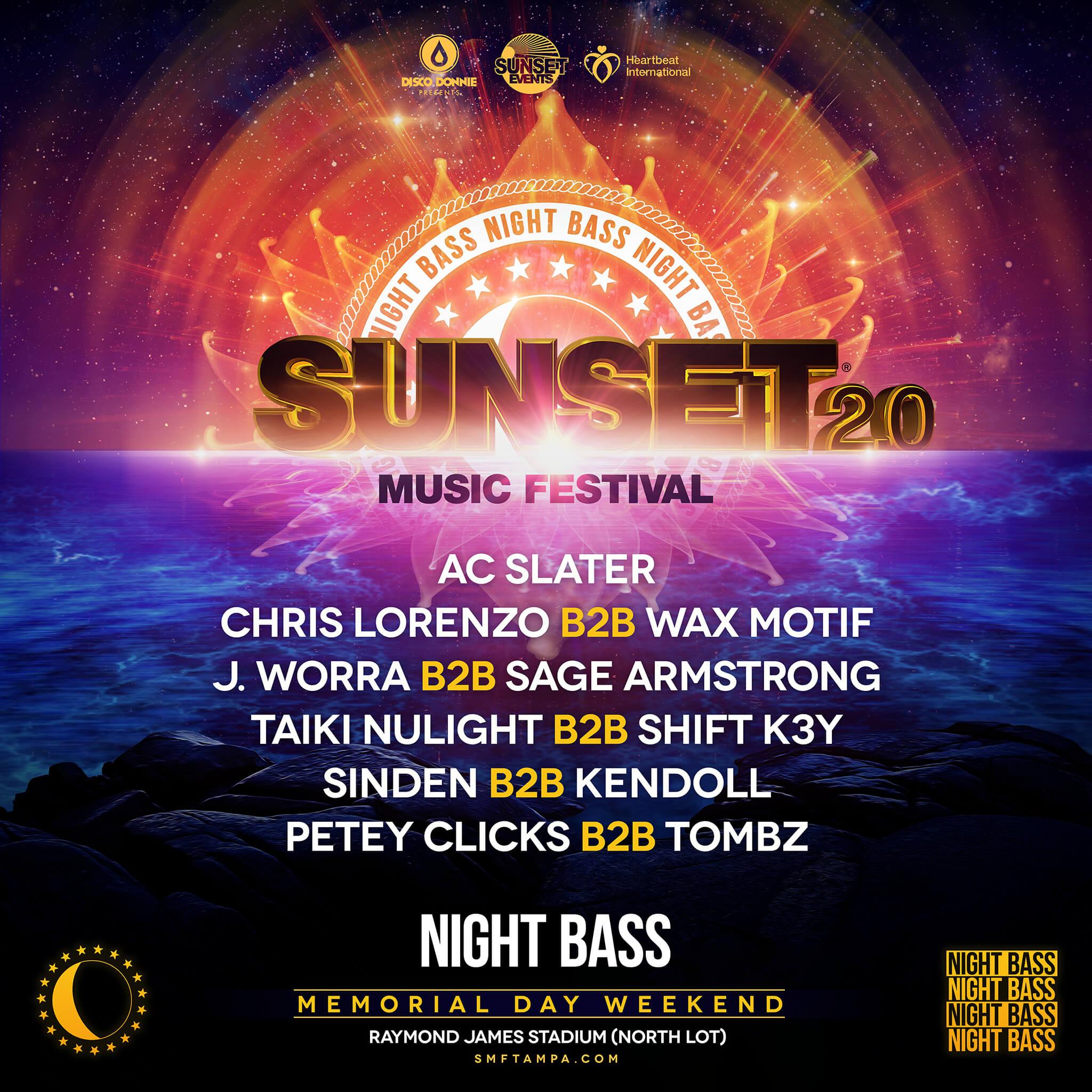 night bass lineup at sunset music festival 2020