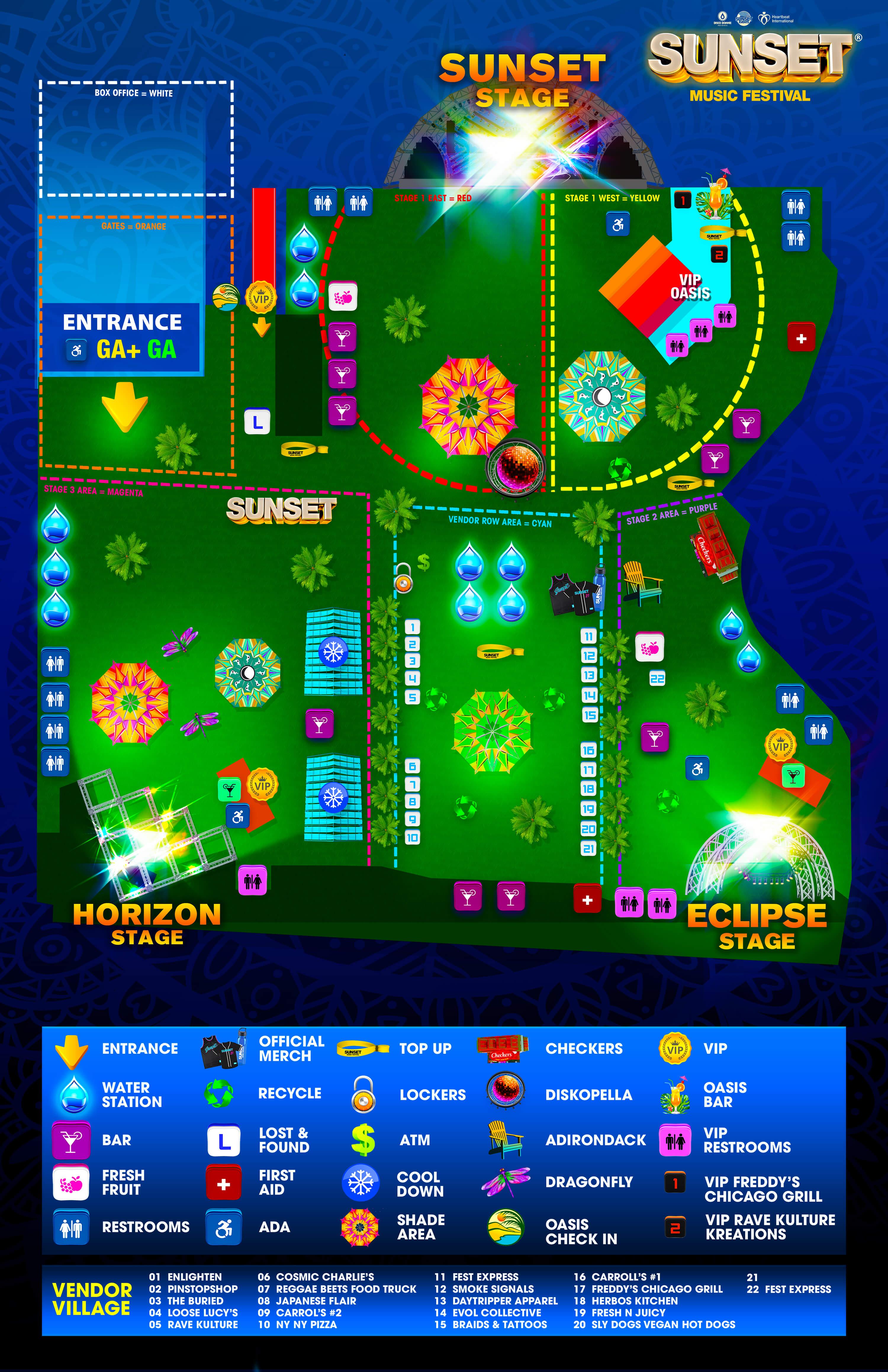 sunset music festival 2021 map