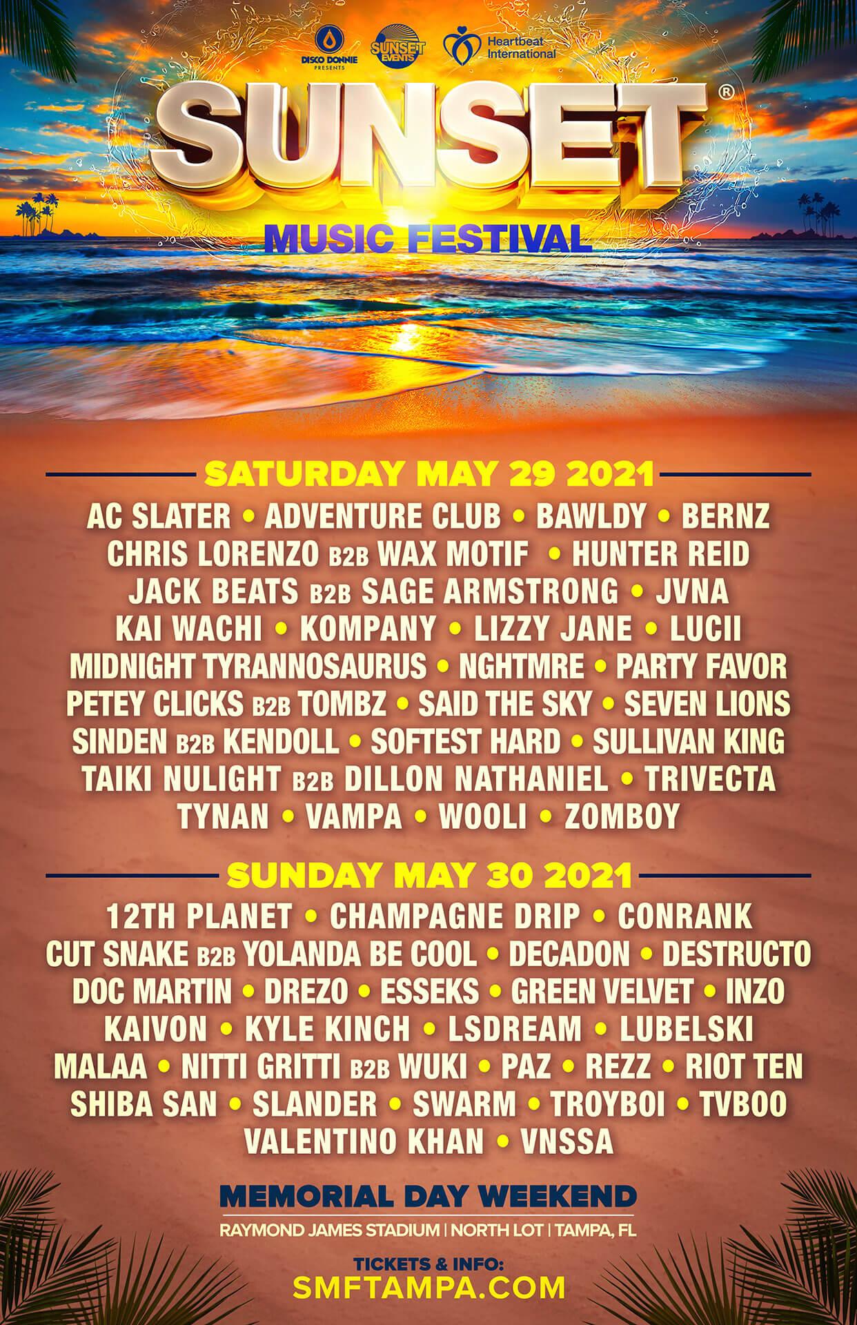 Sunset Music Festival 2021 Lineup