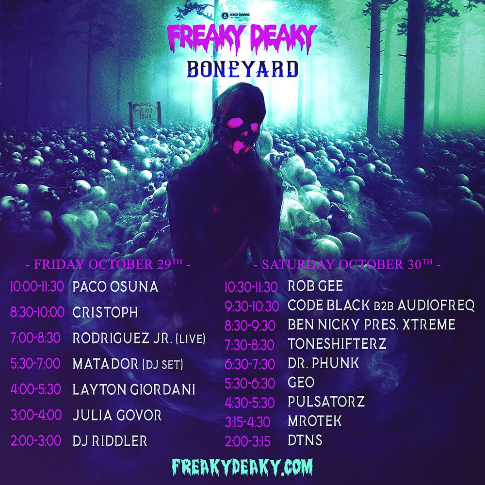 freaky deaky festival 2021 boneyard stage lineup