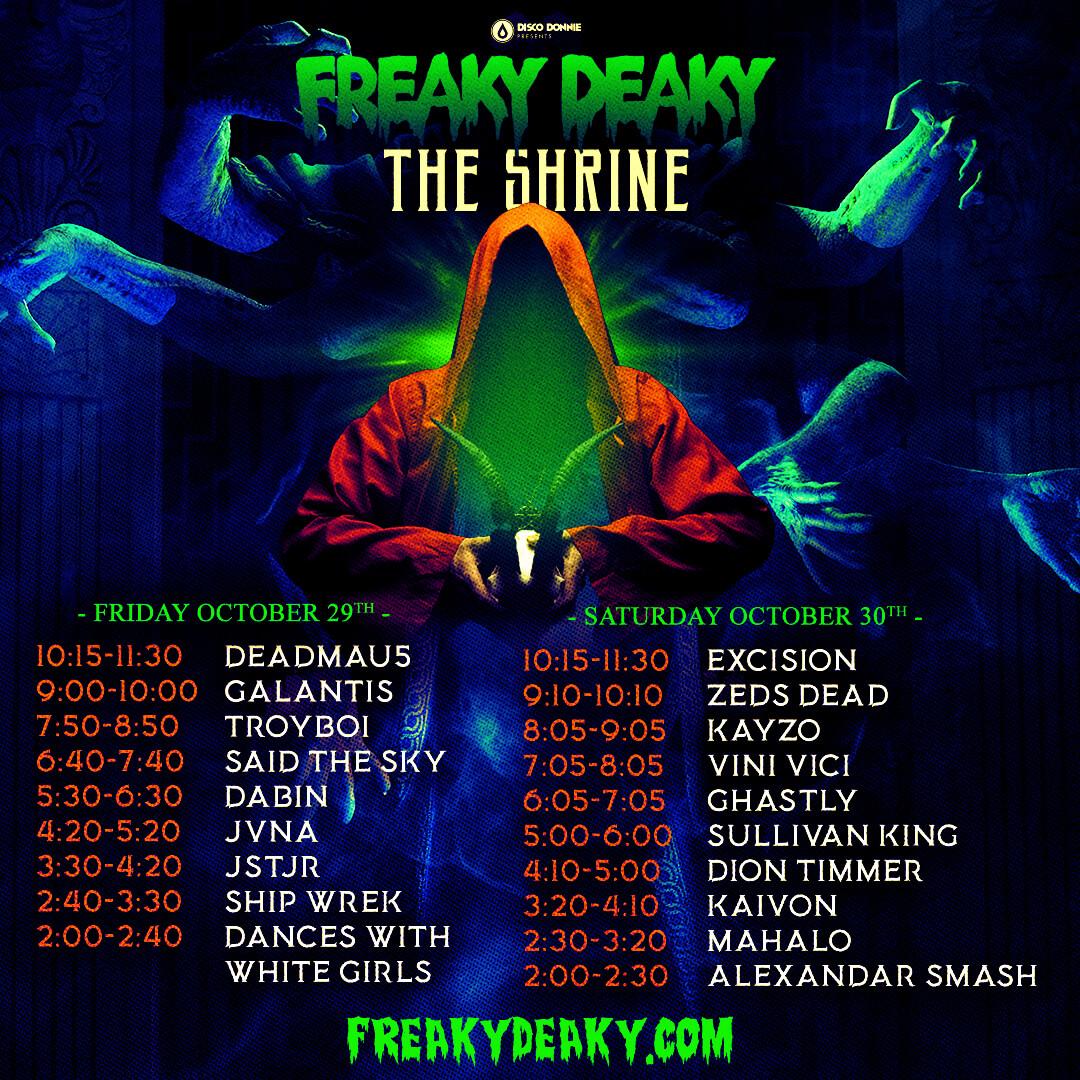 freaky deaky shrine stage schedule