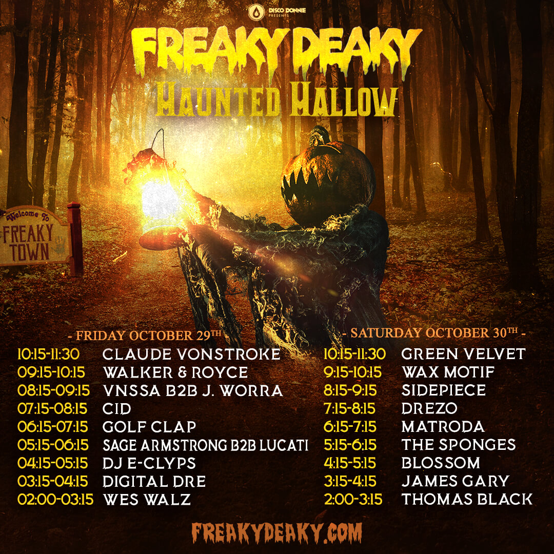 freaky deaky haunted hallow stage schedule