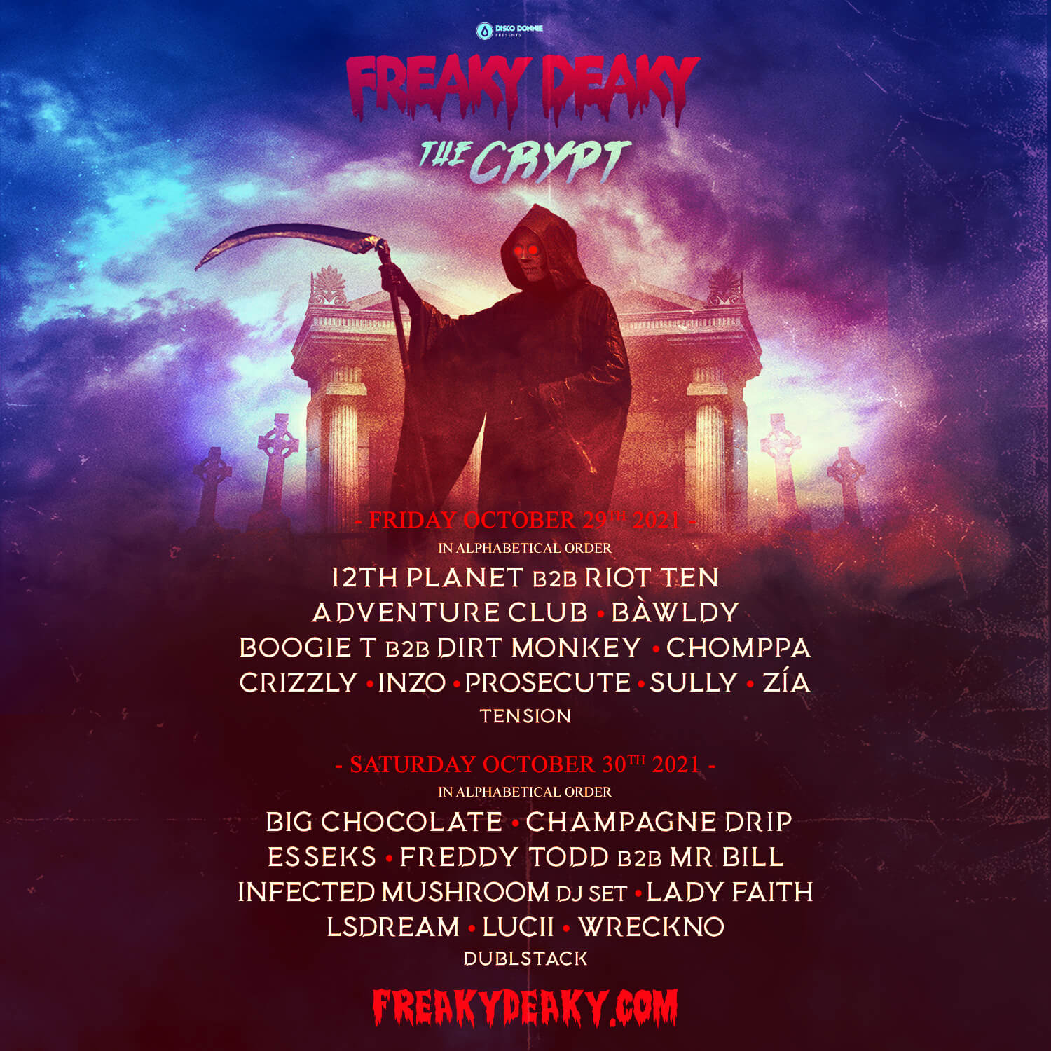freaky deaky festival 2021 crypt stage lineup