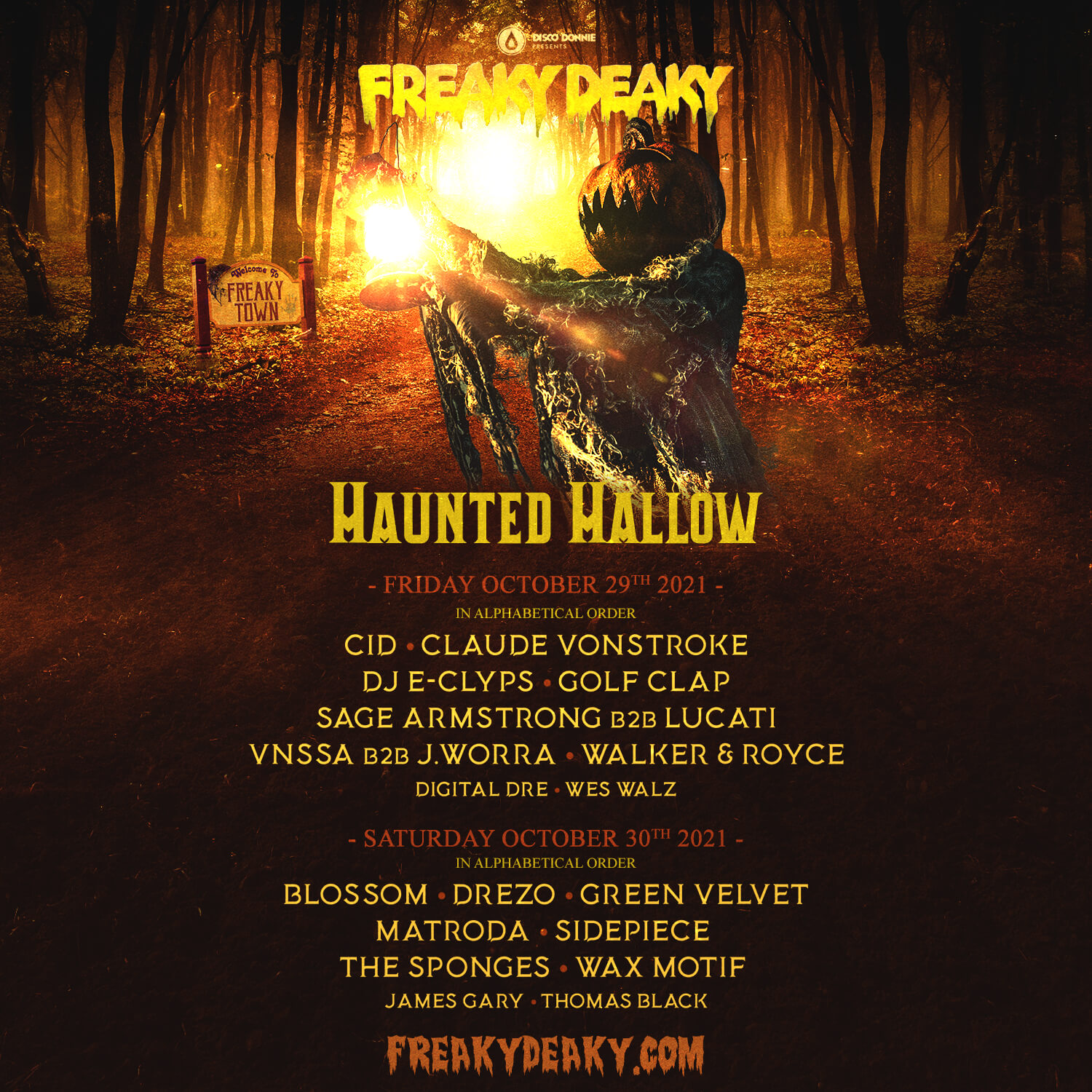 freaky deaky festival 2021 haunted hallow stage lineup