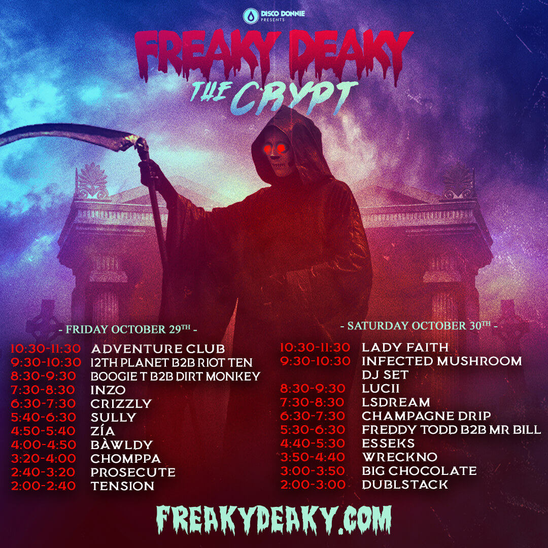 freaky deaky the crypt stage schedule
