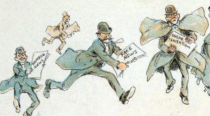 帶著假新聞沖向印刷廠的人(圖/Frederick Burr Opper, 1894/美國國會圖書館)