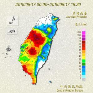 8縣市大雨特報 嘉義南投降雨已逾百毫米(圖/中央氣象局)