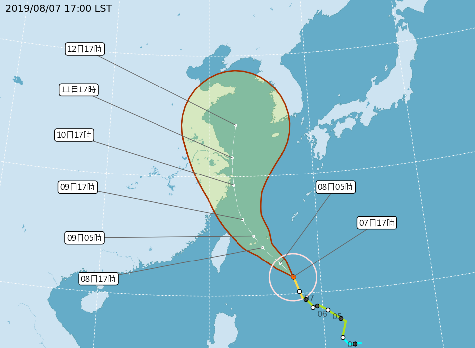 颱風利奇馬以每小時14公里速度,向西北進行。(圖/中央氣象局)