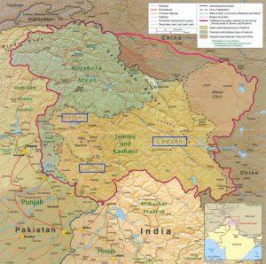 喀什米爾地區分屬印度、巴基斯坦、中國三個國家統治(圖/CIA)