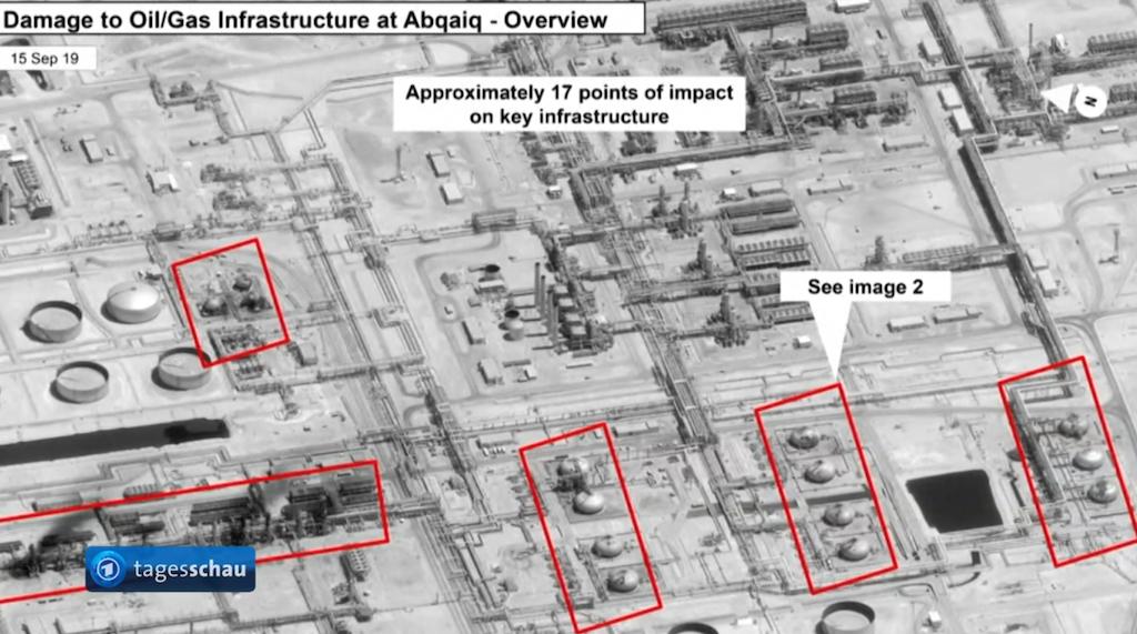 沙烏地阿拉伯阿美石油公司(Saudi Aramco)位於該國東部阿布蓋格(Abqaiq)兩座石油設施遭到無人機的攻擊(圖/擷取自德國公共廣播聯盟新聞影片)