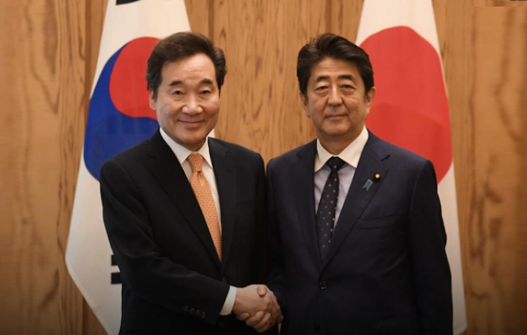 日本首相安倍晉三 24 日上午於官邸,與訪日出席天皇登基典禮的韓國總理李洛淵會面晤談(圖/韓國總理秘書處)