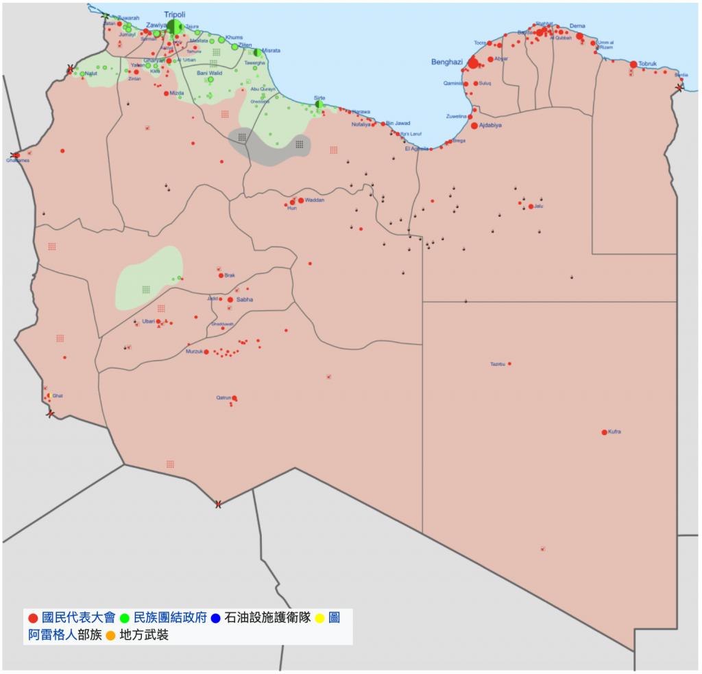 利比亞勢力分佈圖(圖/Ali Zifan/CC BY 3.0)