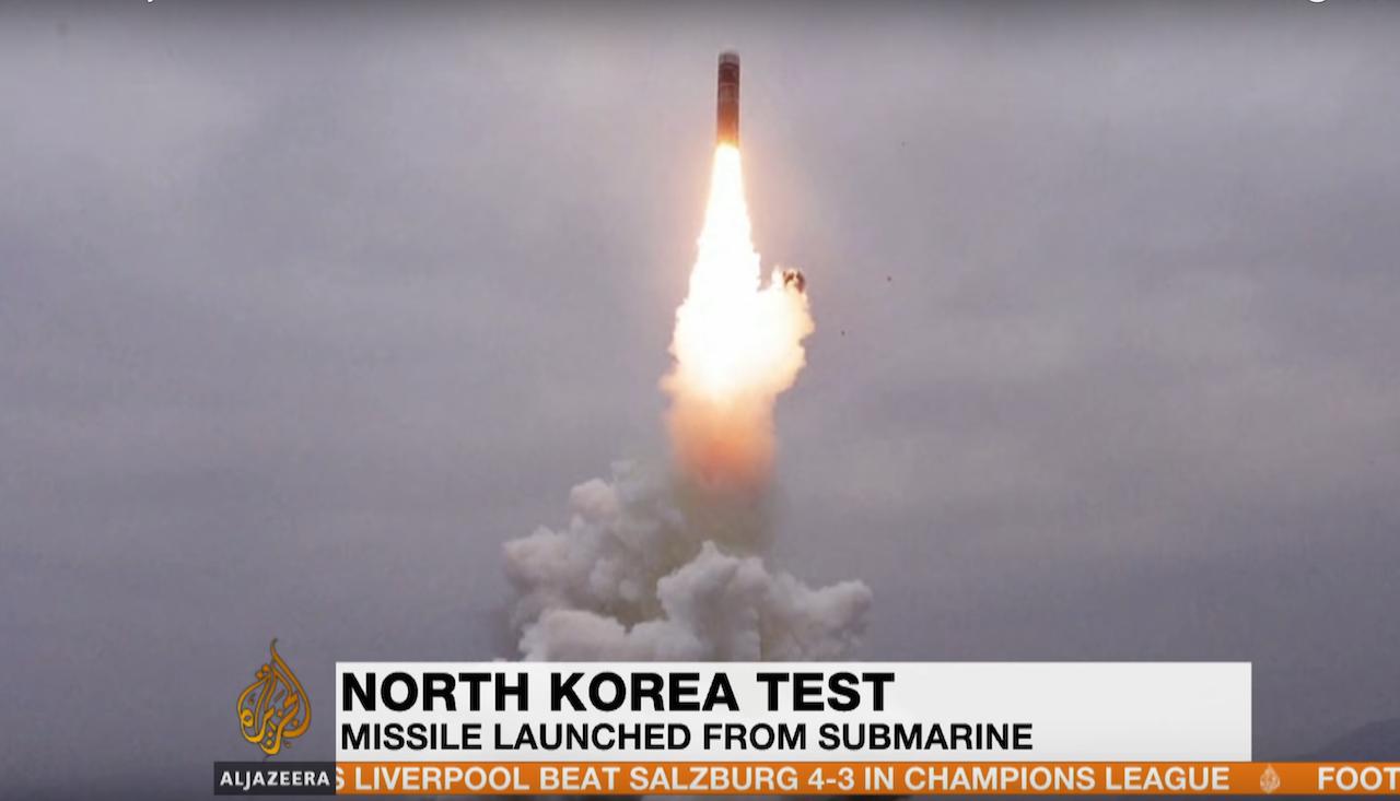 朝鮮成功試射潛射彈道飛彈(圖/擷自半島電視台新聞)