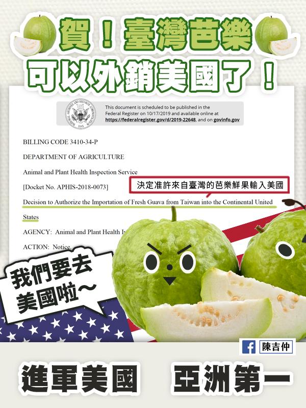 台美關係升溫 美國聯邦公報預告台灣芭樂准入(圖/陳吉仲臉書)