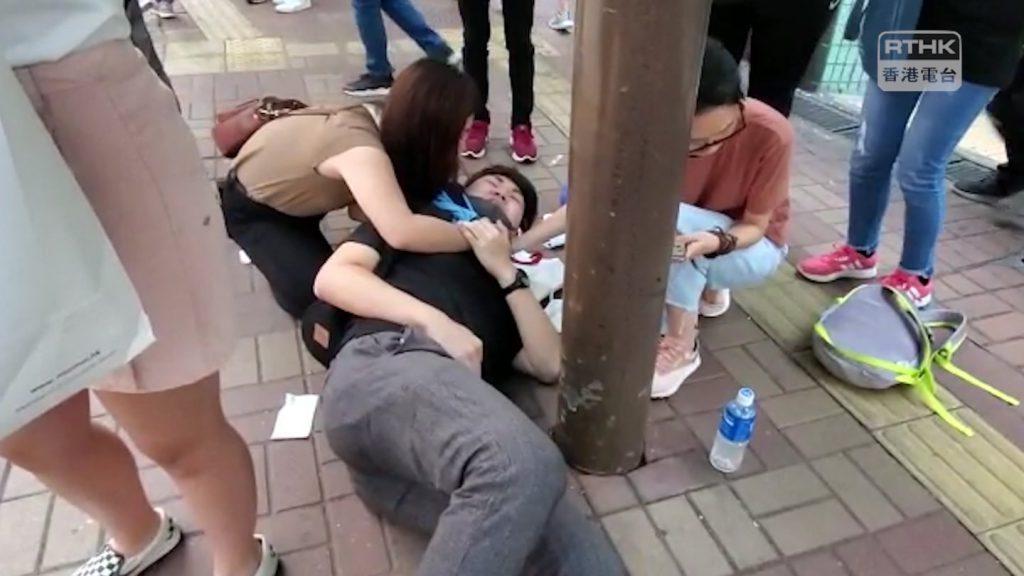 香港連儂牆爆血案 中國男子刺傷反送中者(圖/香港電台視像新聞 RTHK VNEWS臉書)