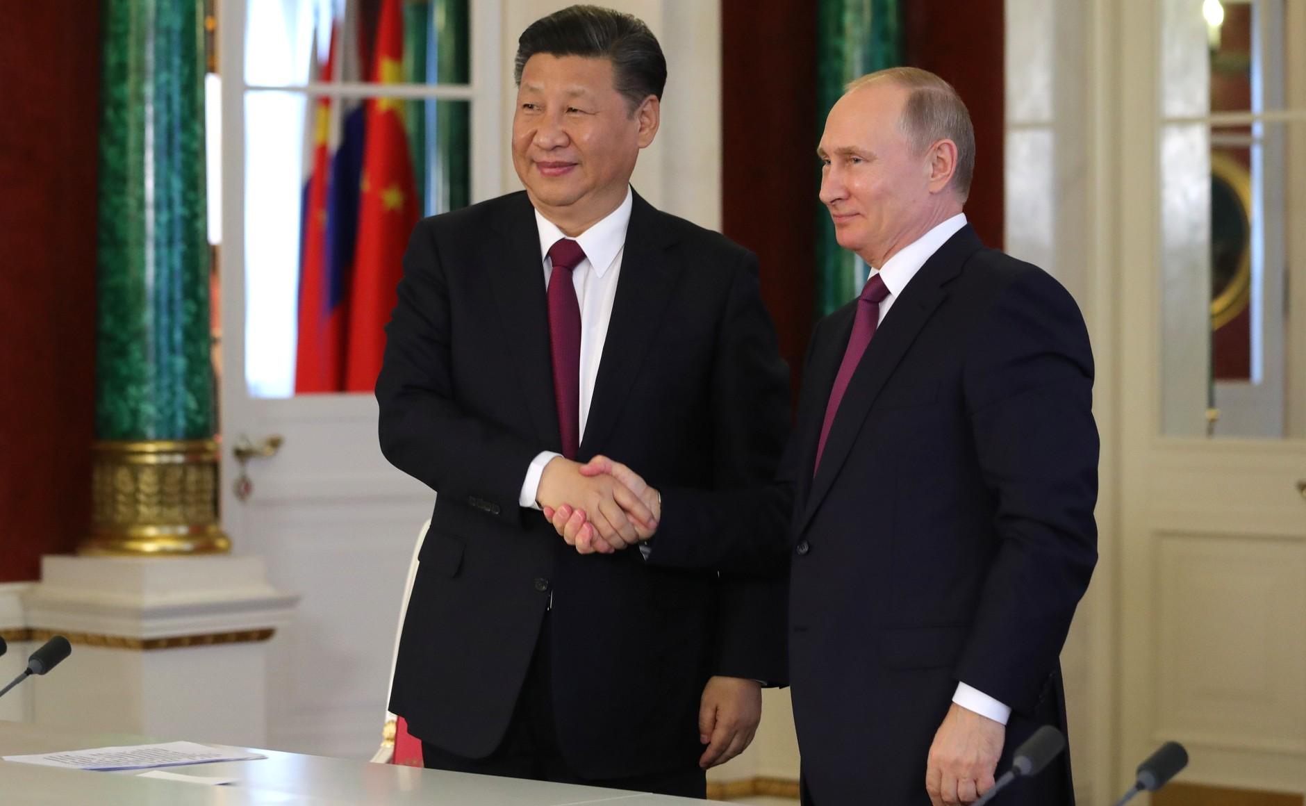 俄羅斯總統蒲亭與中國領導人習近平透(圖/克里姆林宮官網)