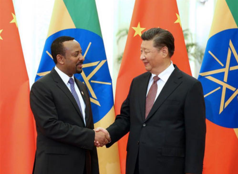 習近平與衣索比亞總理艾比伊(圖/中國外交部)