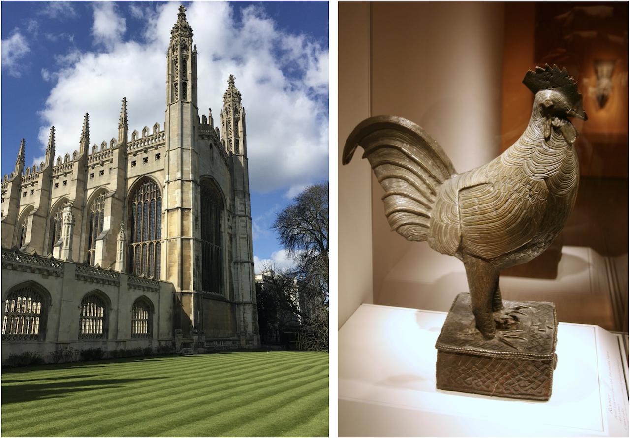 劍橋大學將歸還殖民時期掠奪自非洲的青銅雄雞塑像(圖/Cambridge Univ:Needpix、青銅雄雞:cliff1066/CC BY 2.0)