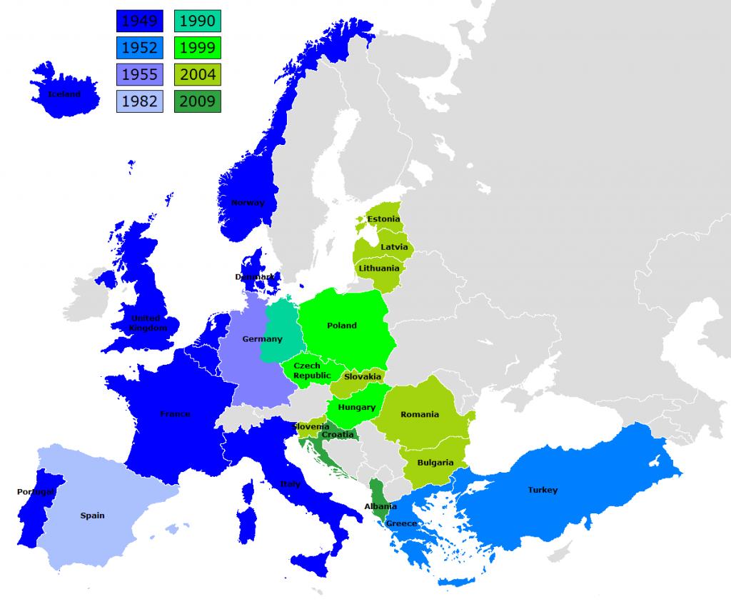 北約在歐陸的會員國加入時期