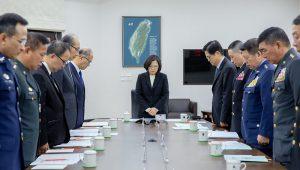 蔡總統召開國防軍事會談,為罹難官兵默哀