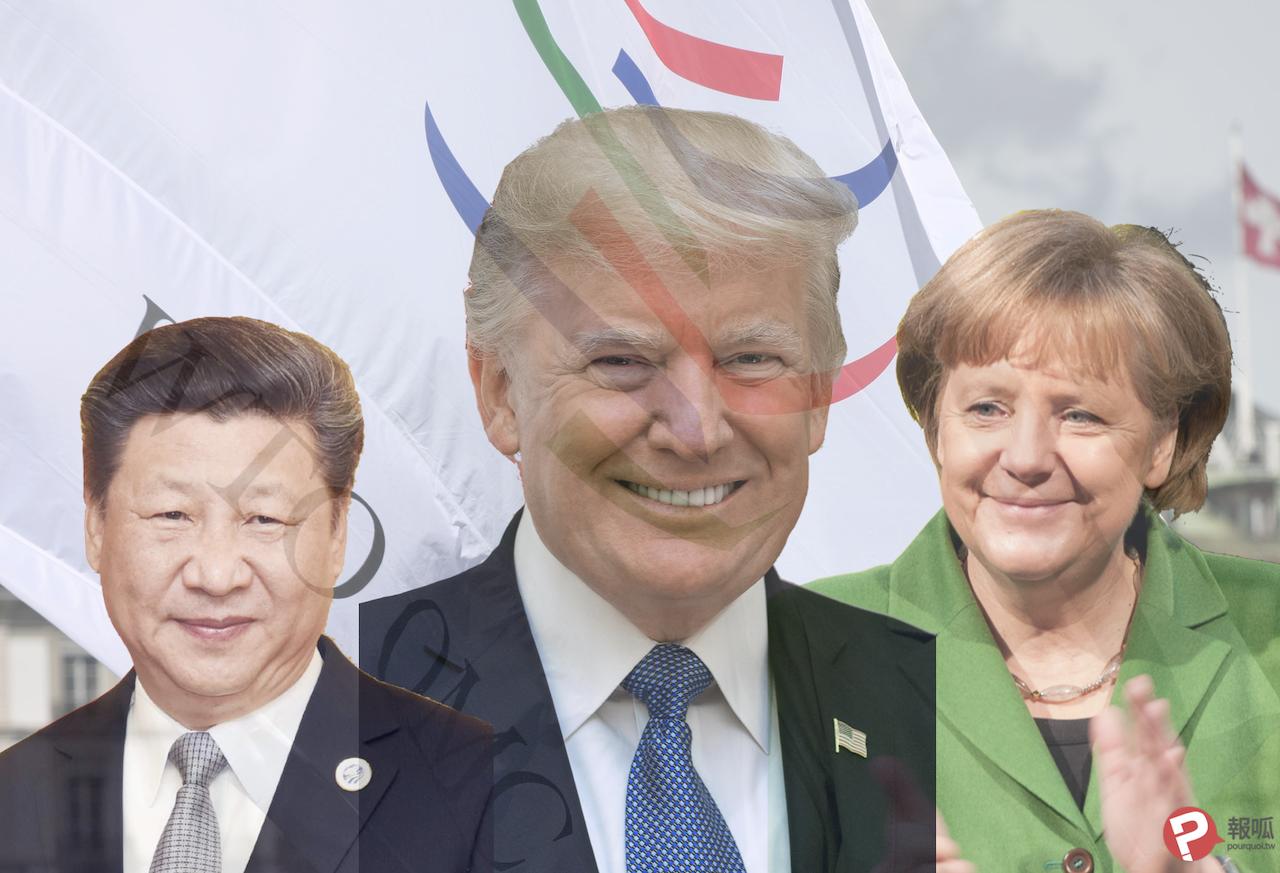 WTO受惠最多的國家:美國、德國、中國(圖/習近平:Narendra Modi、川普:白宮、梅克爾:Ralf Roletschek/報呱再製)