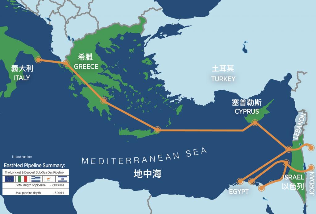 東地中海(EastMed)能源管線計畫(圖/以色列能源部)