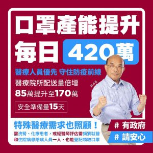 蘇貞昌表示,目前口罩產量已經增加,會優先配送給醫療院所給第一線人員