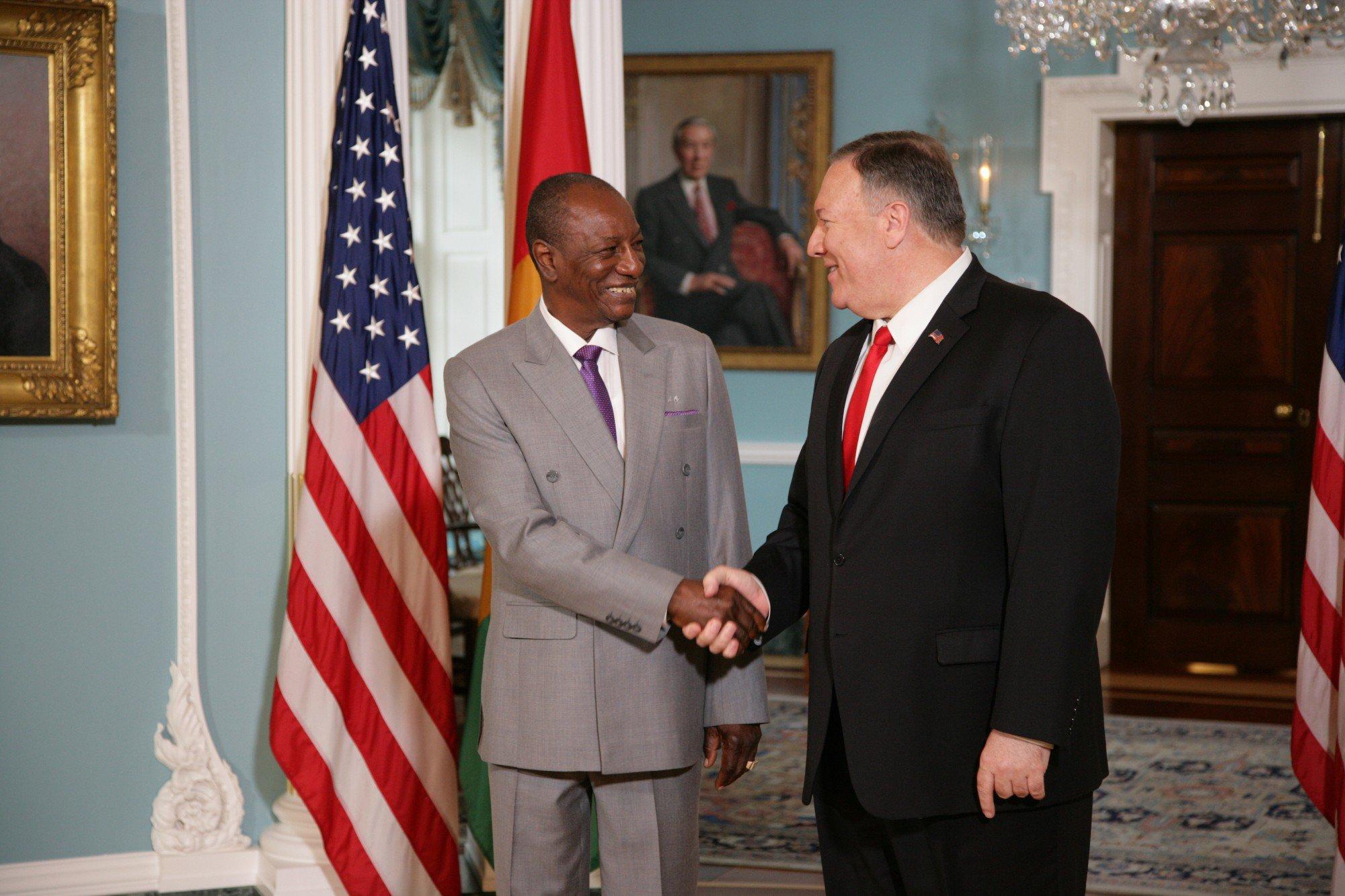 幾內亞總統顧德(Alpha Conde)2019年9月拜會美國務卿蓬佩奧(Mike Pompeo)(圖/美國國務卿推特)
