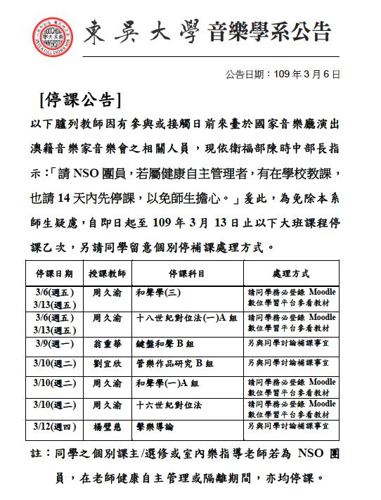 東吳音樂系因為有教師可能與澳洲個案接觸過,宣布停課一次。
