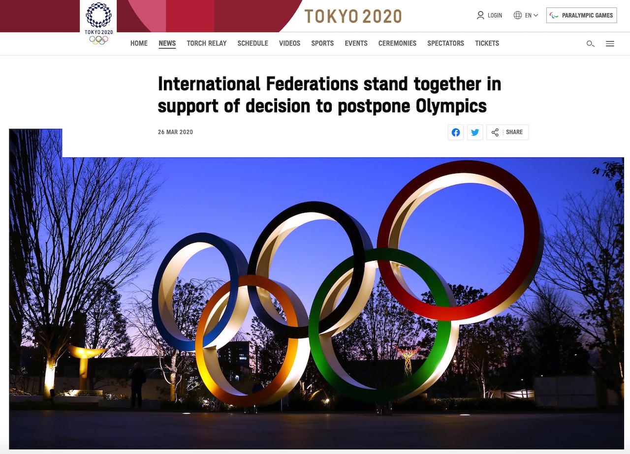 不敵運動選手齊施壓 東京奧運延期(圖/東京奧運官網)