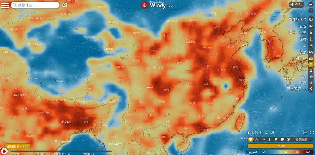捷克天氣預測公司 Windy 的NO2資料(截圖自 Windy)