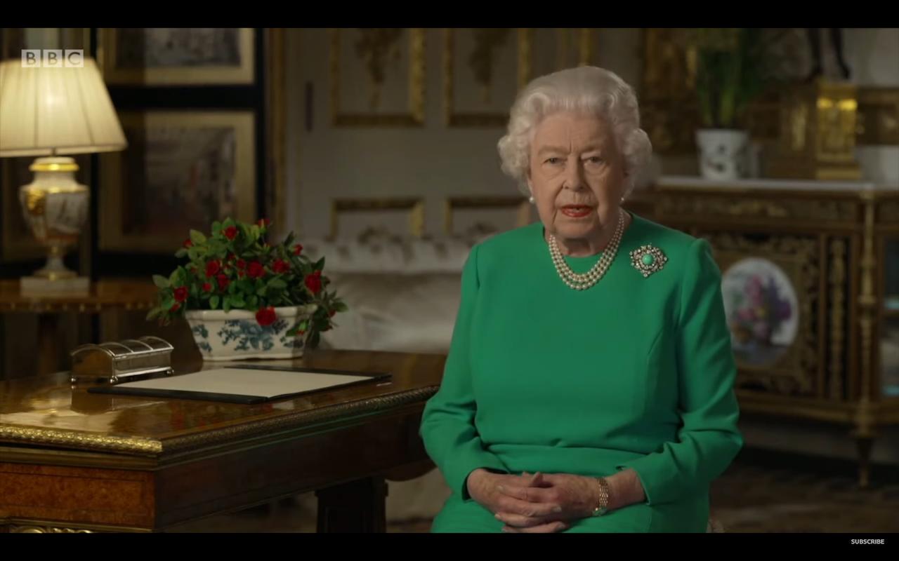 面對武漢肺炎,英國女王發表第 5 次公開演說(圖/BBC截圖)