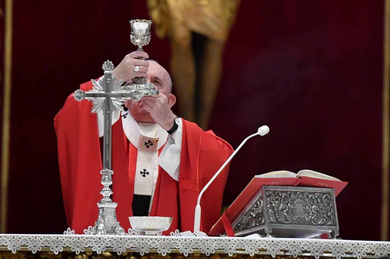教宗方濟各按照慣例主持聖枝主日彌撒_02(圖/Vatican News臉書)