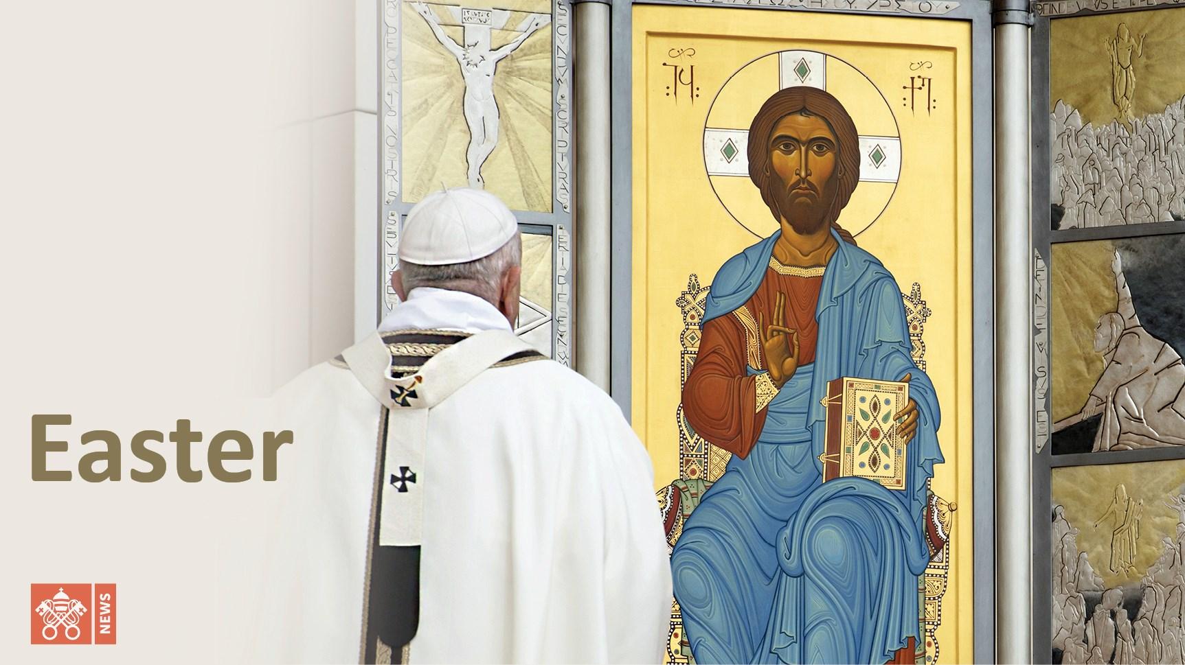 教宗方濟各聖伯多祿大殿復活節彌撒(圖/Vatican News臉書)