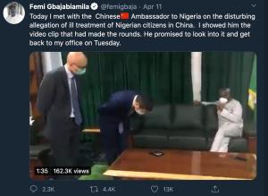 奈及利亞眾院議長大動作找來中國大使當面責難(圖/Femi Gbajabiamila 推特)