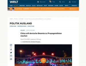 德國《世界報》:德國外交部拒絕配合中國大外宣(圖/世界報官網)